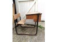 Old school desk with folding chair