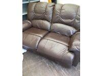 Brown sofa one chair