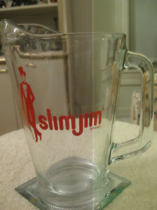 "HEAVY VERY THICK ""SLIM JIM"" CLEAR GLASS ICED TEA JUG"