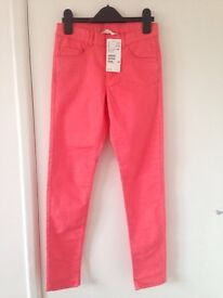 Coral pink jeans