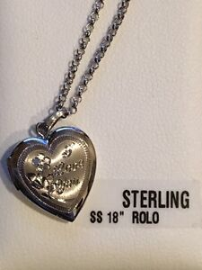 Brand new sterling silver 18 inche heart 2 picture locket
