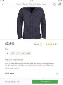 Barbour jacket navy reversible BNWT