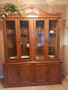 Beautiful Vintage Solid Wood China Cabinet