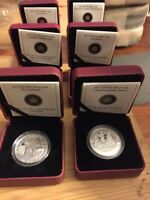 Six pure silver coins from the Royal Canadian Mint.
