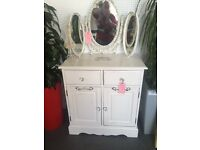Dresser cabinet. Shabby chic. Beautiful with lovely handles. Wow. Classy