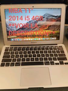 "Macbook Air 11"" 2014 tel quel 440$ **lire la description**"