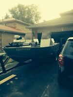 17' fishing boat c/w 75 hp Mercury outboard and trailer