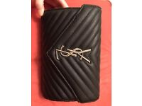 Yves Saint Laurent YSL Quilted textured-leather black wallet clutch women's bag