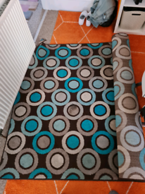 Large retro blue and brown rug