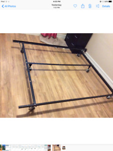 Steel Full/Queen bed frame with casters & Full Size Foundation