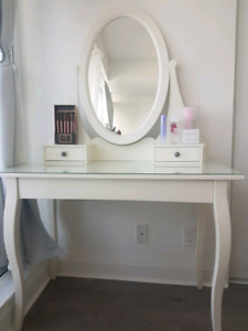 White Vanity Table with Mirror. Great for makeup & beauty lovers