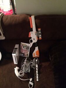 wii console and cabelas gun and game