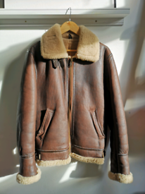 Sheepskin sheerling aviator Bomber flight jacket Size Large