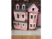 Dolls house pink wooden