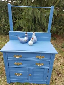 Painted Blue Antique Wash Stand Dry Sink