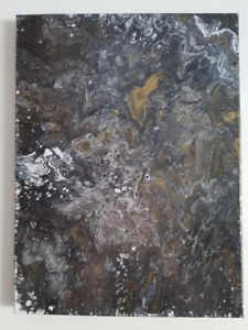 Acrylic Pour, Black/Gold/Silver, Canvas Painting