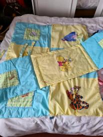 Disney Winnie the Pooh cot quilt and bumper set