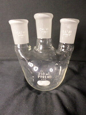 Corning Pyrex Glass 2440 Joints Vertical 3-neck 250ml Round Bottom Flask