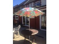 Garden table with umbrella & 2 chairs