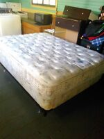 Double bed with box spring and frame