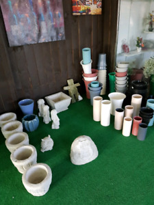 Cement planter$10 and buckets$2