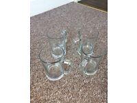 4 large glass tankard pint glasses
