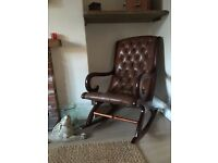 Leather Chesterfield rocking chair