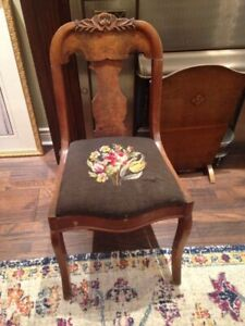 Antique Needlepoint Chair / Plant Stand