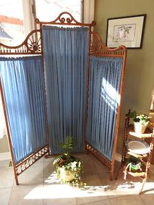 Antique Victorian Folding Oak Dressing Screen/Room Divider C1900