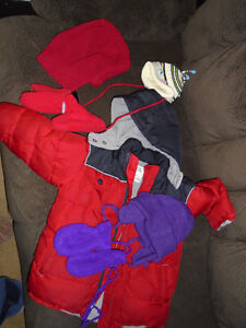 Boys jacket size 4T + Mittens +Hats   size 4T  All   $10 **