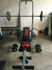 Weight Lifting Bench & Steel Weights