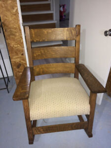Antique Grandfather Quartercut Oak Rocking Chair