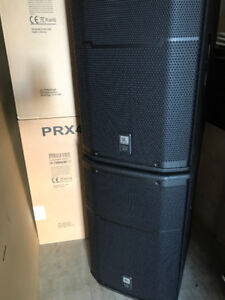 "2-JBL PRX 415M 15"" 2 way speakers with K&M Stands"