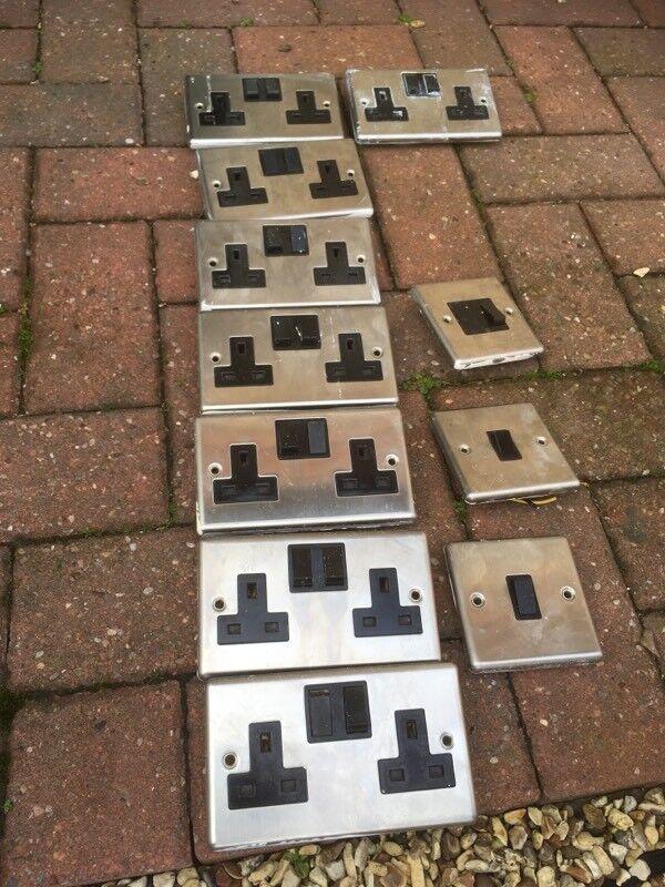 Brushed steel electric sockets