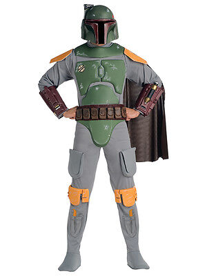 Adults Licensed Star Wars Deluxe Boba Fett Mens Fancy Dress Costume + Helmet New