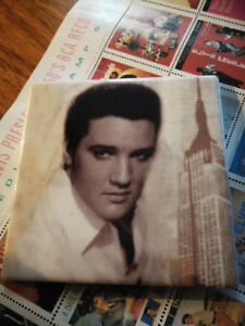 Rare Ceramic Elvis Coasters & Tin