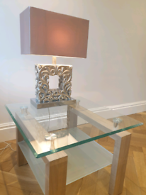Glass Side Table with Wooden Base
