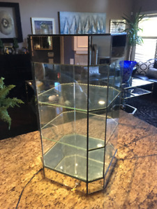 Quartz lit Mirror & Glass counter top Display Stand