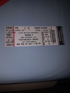Maroon 5 Wednesday March 1 single ticket row 2