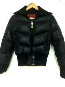 TNA Patricia Fearing Black Puffer Down Bomber Jacket