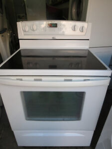 Whirlpool Glass Top Self Clean White Stove
