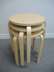 3 Ikea  FROSTA Stools in Excellent Condition Birch Veneer