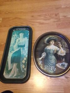 Vintage Coca Cola and Pepsi Cola Trays