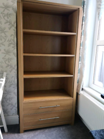 Elford Oak Bookcase With 2 Drawers