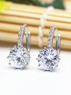 (6.00 Carat Big Round Diamond Clip on Stud Earrings 18K White Gold)