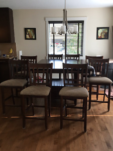 9 Piece Pub Style Dining Table and Chairs
