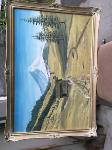 Original Landscape Painting by A. Schulz. framed 24 x 36