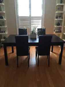 Dining Table and 4 Leather Parson Chairs