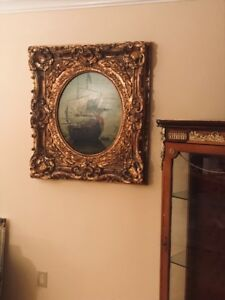 Oversized Art Ship in Heavy Baroque Guilded Frame L: 36 x W: 31
