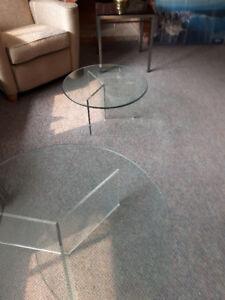 Tables - Vintage Designer Glass Round Tables
